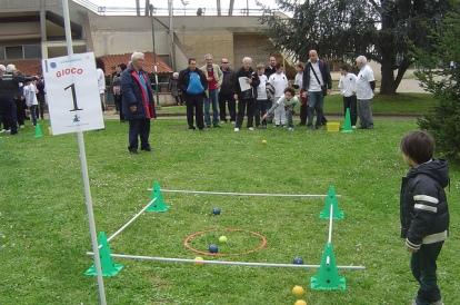 immagine di gioco bocce sull'erba