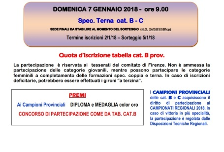 Campionati Provinciali Terna Firenze 7 gennaio