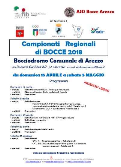 Locandina Campionati Regionali FIB Arezzo 2018