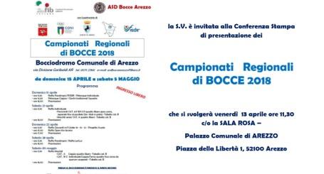 Invito Conferenza Stampa campionati regionali Bocce Arezzo 13 aprile