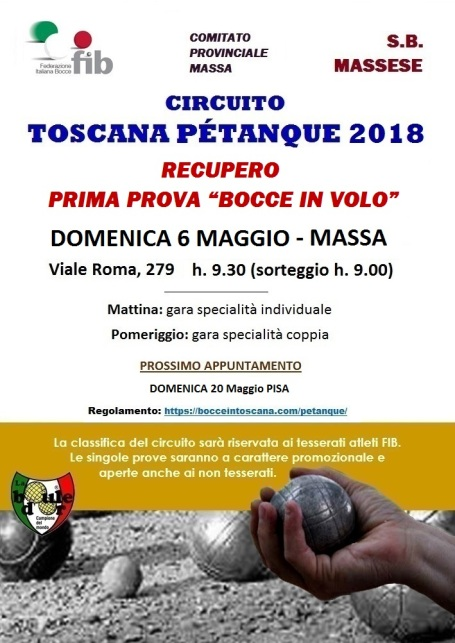 LOCANDINA CIRCUITO PETANQUE 2018 6 MAGGIO MASSA