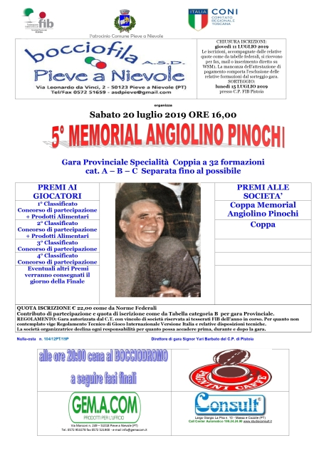 manifesto 5 Memorial Angiolino Pinochi